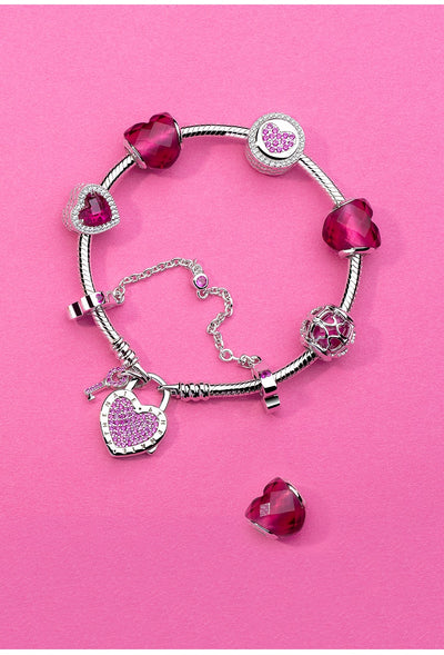 925 Sterling Silver Snake Chain Bracelet with CZ Cubic Zirconia Lock of Heart Clasp Bracelet
