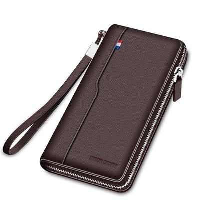 Genuine Leather Zipper Long Wallet For Men - Large Capacity Card Holder Purse