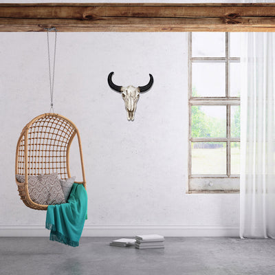 Resin Cow Skull Head Wall Hanging Decor 3D Animal Wildlife Sculpture Figurines