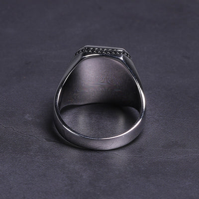 925 Sterling Silver Imitated Black Stone Ring - High Polishing Turkish Rings For men