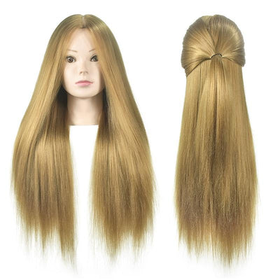 Mannequin Head With Hair 65 cm Blonde Long - Hairdressing Head Training Practice
