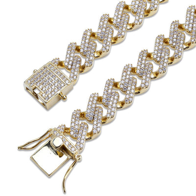 Iced Out  Hip Hop Cuban Link Bracelet Micro Pave AAA Cubic Zircon Chain