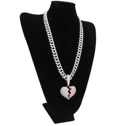 Iced Out Heartbreak Pendant & Necklace 13mm Cubic Zirconia Cuban Link Chain