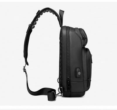 Black Shoulder Crossbody Bag Water Repellent with USB Charging