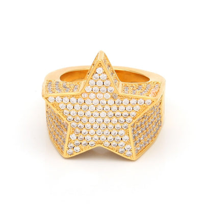 Star Rings Full Lced Cubic Zirconia Hip Hop Ring Jewelry