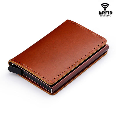 Leather Credit Card Holder Aluminum Metal Business ID Card Holder RFID Blocking