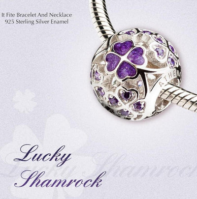925 Sterling Silver Enamel Lucky Shamrock Charm Beads Fit European Bracelets Necklace