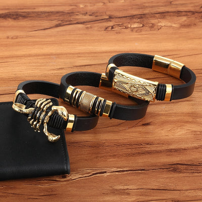 Genuine Leather Bracelet With Easy Hook