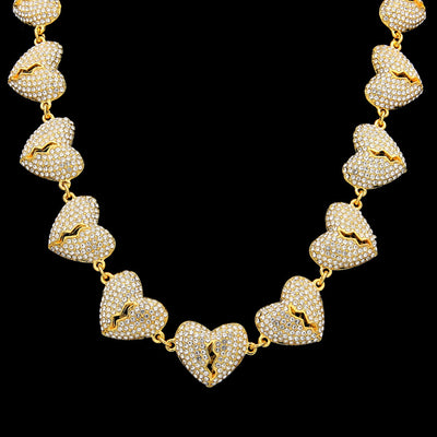 Broken Heart Iced Out Necklace CZ Rhinestone Choker Hip Hop Jewelry