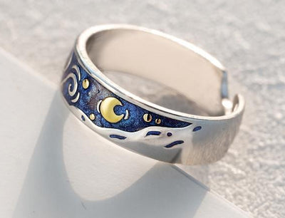 Van Gogh's Enamel Couple Rings Sky Star Moon s925 Silver Glitter Engagement Ring