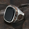 Vintage Turkish Rings For Men With Natural Black Onyx Stones Real 925 Sterling Silver