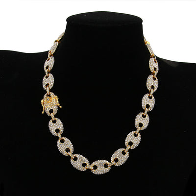 Alloy Rhinestone Hip Hop Necklace Iced Out CZ Charm Link Punk Choker Chain Jewelry