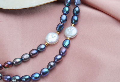 Natural Freshwater Baroque Pearl Necklace 925 Sterling Silver Ball Jewelry