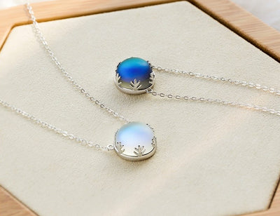 55cm Light Necklace Crystal Halo Pendant s925 Silver Elegant Jewelry