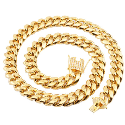 Hip Hop Stainless Steel Cuban Miami Chains Necklaces CZ Zircon Box Lock Gold Chain