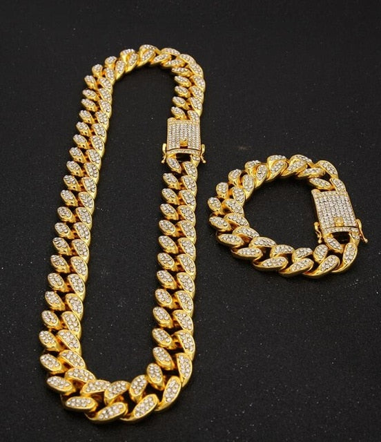 1765455ddb 13mm Iced Out Cuban Link Choker Necklace Bracelet Chain Hip Hop Jewelry  Rhinestone CZ Clasp for Mens