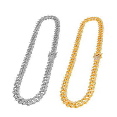 13mm Iced Out Cuban Link Choker Necklace Bracelet Chain Hip Hop Jewelry Rhinestone CZ Clasp for Mens