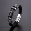 Handmade Leather Weaved Men Bracelets Bangles Magnet Clasp 316L Stainless Steel Wristband
