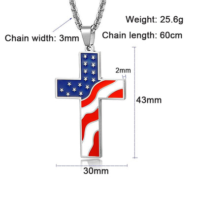 American USA Flag Cross Necklaces Pendant Stainless Steel Enamel