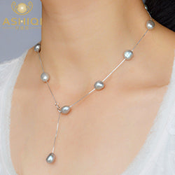 Genuine 925 Sterling Silver Pendant Necklace 9-10 mm Natural Freshwater Baroque Pearl Necklace