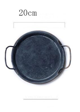 Retro Metal Round Tray With Handles - European Decorative Tray