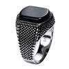 Turkish Ring For Men 925 Sterling Silver Natural Black Onyx Stone Ring