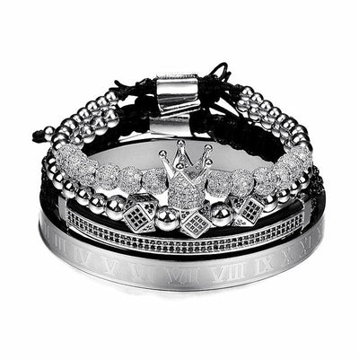 4 pcs/set Hip Hop Braided Bracelet Pave CZ Zircon - Crown & Roman Numeral Bracelet For Women & Men