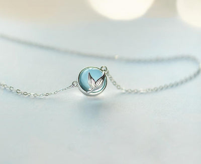 s925 Silver Necklace Blue Crystal Pendant - Mermaid Tail Foam Bubble Design