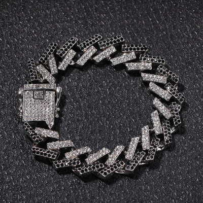 Mens Bracelet Iced Out Rhinestones 15mm Prong Cuban Link Bracelet