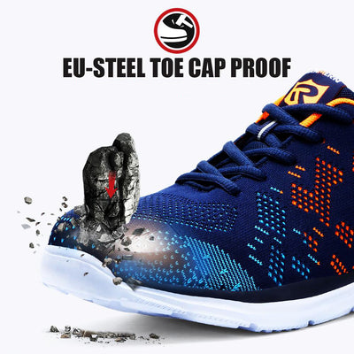 Lightweight Breathable Men Safety Steel Toe Work Shoes -  Anti-smashing Construction Sneaker With Reflective