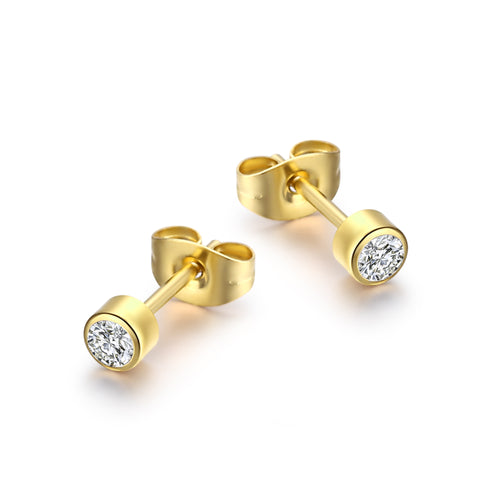 Solitaire round Gold/White
