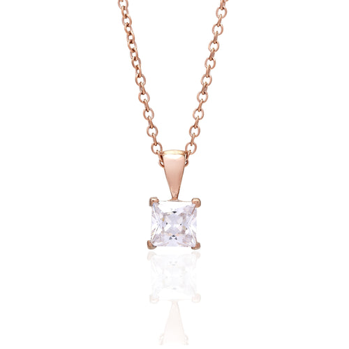 Solitaire Square Rose/White