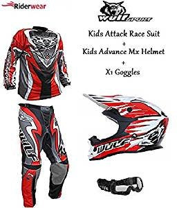 New Design 2017 Wulfsport Kids Attack Race Suit Red + Wulfsport Advance Kids Motocross Red Helmet + X1 Black Goggles Junior MX Deal