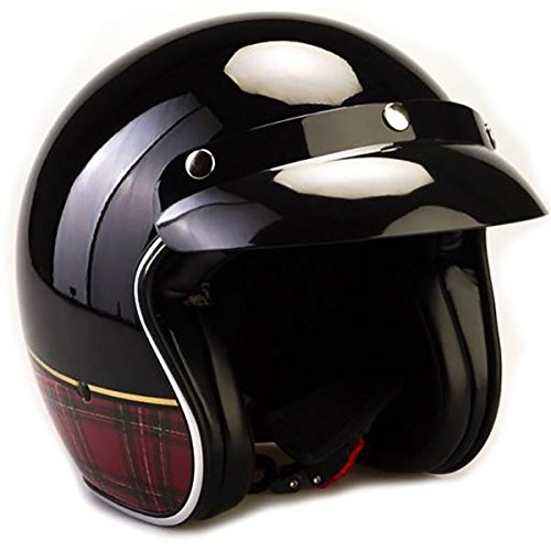 Viper RS-04 Open Face Motorcycle Helmet - Black/Red Tartan