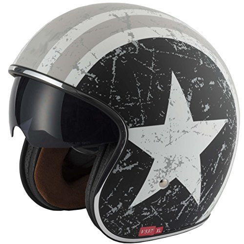 V-CAN Vcan V537 Rebel Star Motorbike Motorcycle OPEN FACE Helmet