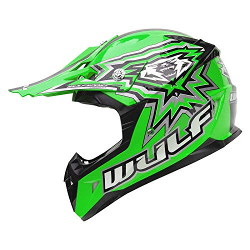 Kids Motorbike Helmet Wulfsport Flite-xtra Cub Motocross Racing Quad Pit Dirt Bike Motorcycle Mtb Bmx Junior Off Road Sports Mx Helmet Green