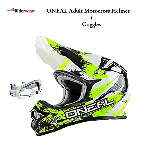 Oneal 3 Series Shocker Adult Mx Motorcycle Motorbike Motocross Quad Dirt Bike ATV Enduro Off Road Helmet Black/Yellow With White Goggles