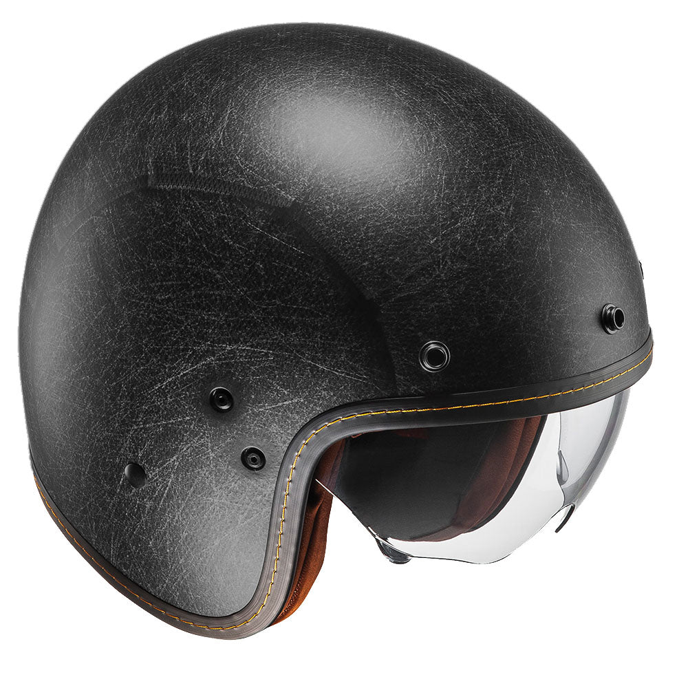 Open Face Helmet FG-70s Vintage Flat Adult Motorcycle Scooter Retro Style Helmet Black