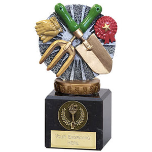 "Resin Gardening Award On A Chunky Marble Base 12cm (4 3/4"")"