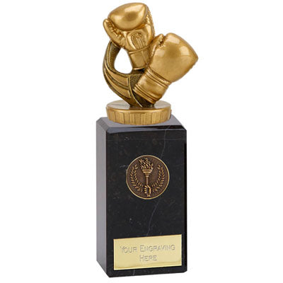Gold Resin Boxing Gloves Award On A Chunky Marble Base