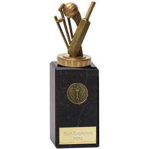 Gold Resin Cricket Bat & Stumps Award On A Chunky Marble Base