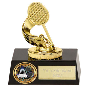 "Gold Plastic Badminton Award On A Black Base 11.5cm (4 1/2"")  rjsmith-son.co.uk"