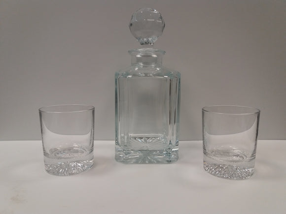Regal Crystal Square Spirit Decanter Whisky Set, Decanter and 2 Tumblers