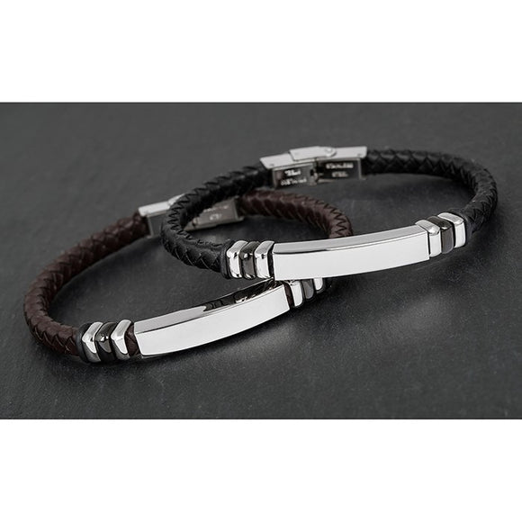 EQ For Men Engravable Leather Bracelet 274755 rjsmith-son.co.uk