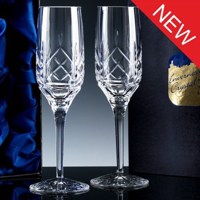2833.51S2: Inverness Crystal - Premier - Panelled - 24% Lead Crystal - 6oz Champagne Flute, 2 Satin Box