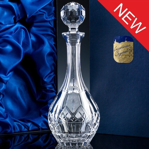 2837.52S: Inverness Crystal - Premier - Panelled - 24% Lead Crystal - Wine Decanter, Satin Box