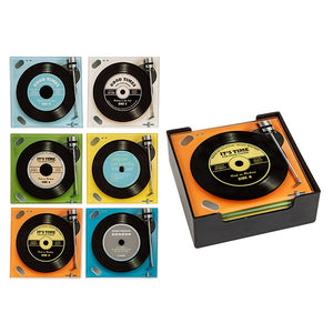 Retro Turntable Record Coasters Square Set of 6 287554