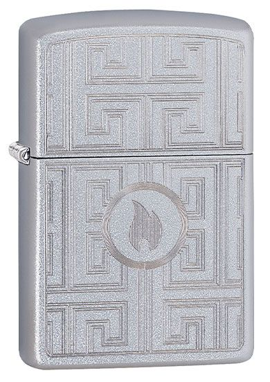 Z29857 ZIPPO LIGHTER SATIN CHROME, LABYRINTH DESIGN