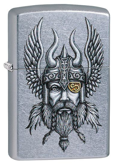 Z29871 ZIPPO LIGHTER STREET CHROME, VIKING WARRIOR DESIGN