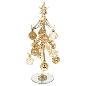 Decorated Glass Tree with Gold Baubles